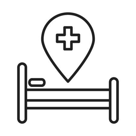 bed location pointer healthcare medical and hospital pictogram line style icon vector illustration Illustration