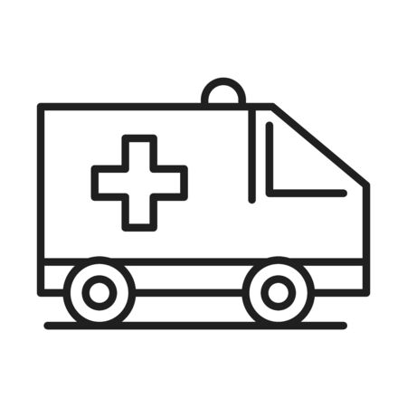 ambulance transport healthcare medical and hospital pictogram line style icon vector illustration Illustration