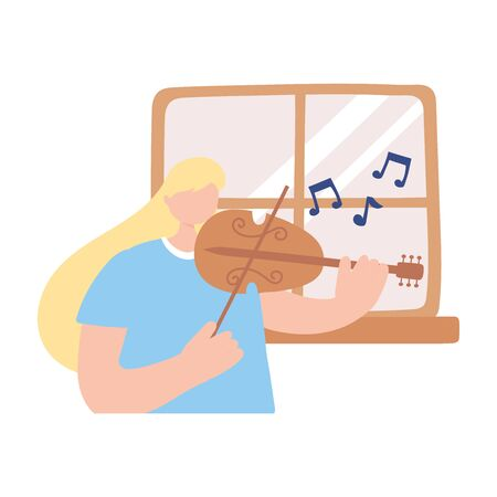 stay at home, musician girl playing fiddle, self isolation, activities in quarantine for coronavirus vector illustration