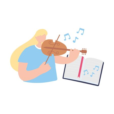 stay at home, girl playing fiddle reading book musical, self isolation, activities in quarantine for coronavirus vector illustration