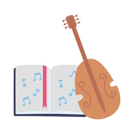 fiddle instrument musical book video creativity activity image vector illustration