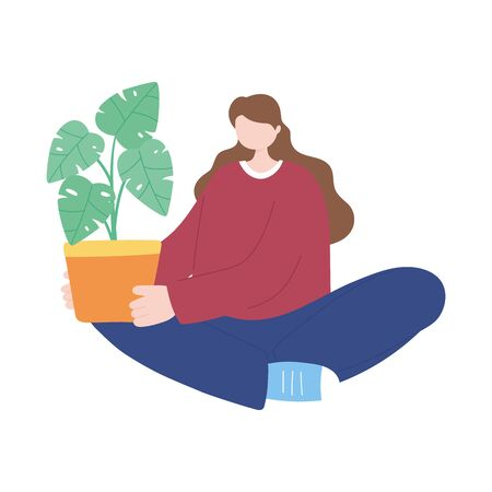 young woman with houseplant in pot decoration isolated icon white background vector illustration