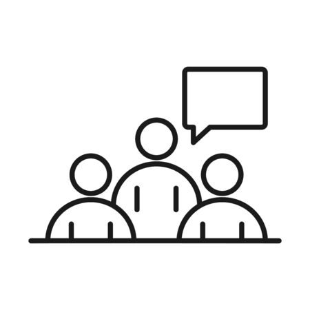 businesspeople team meeting business management developing successful line style icon vector illustration