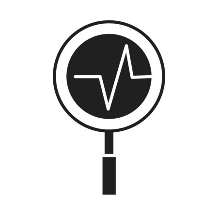 heartbeat magnifier glass healthcare medical and hospital pictogram silhouette style icon vector illustration Illustration