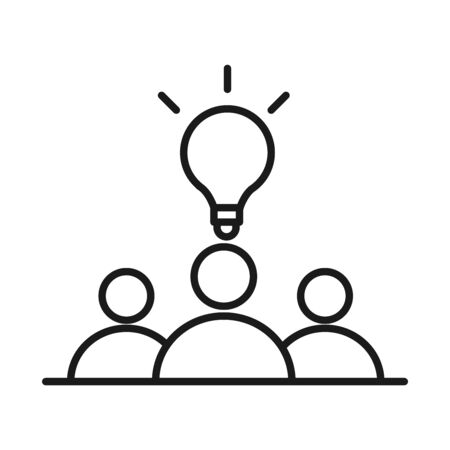 businesspeople team solution work management developing successful line style icon vector illustration