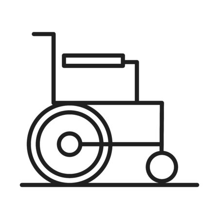 wheelchair disability healthcare medical and hospital pictogram line style icon vector illustration Illustration