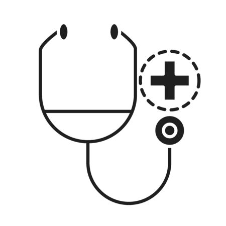 stethoscope diagnostic healthcare medical and hospital pictogram silhouette style icon vector illustration
