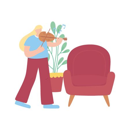 stay at home, girl with fiddle chair and plant, self isolation, activities in quarantine for coronavirus vector illustration Stock Illustratie
