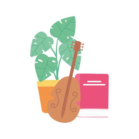 fiddle instrument book clock and potted plant image vector illustration