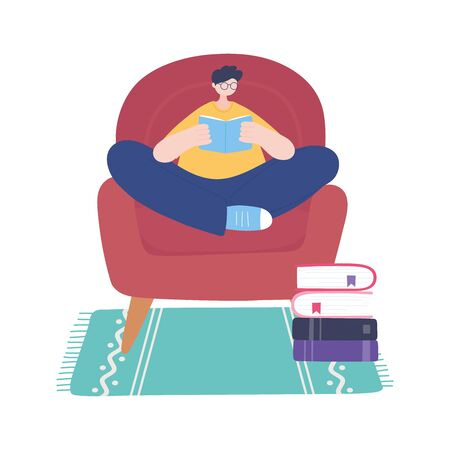 stay at home, guy reading book on chair, self isolation, activities in quarantine for coronavirus vector illustration