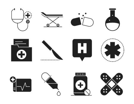 healthcare medical and hospital pictogram silhouette style icon s set vector illustration