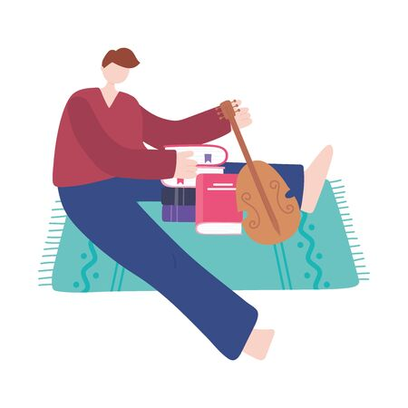 stay at home, young man with book and violin sitting on floor, self isolation, activities in quarantine for coronavirus vector illustration Stock Illustratie