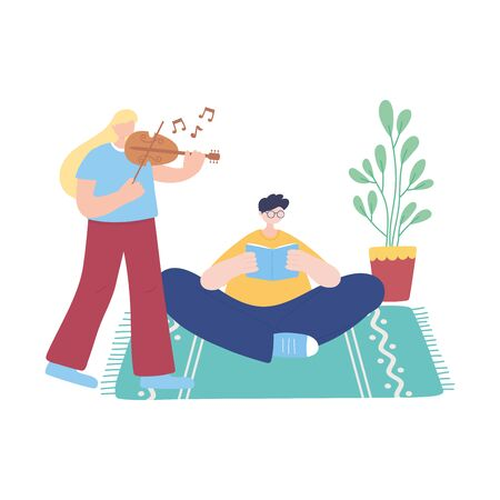 stay at home, girl playing fiddle and man reading book in room, self isolation, activities in quarantine for coronavirus vector illustration