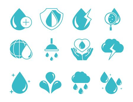water drops nature liquid save environment, drink, blue silhouette style icons set vector illustration