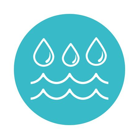 water drops flowing nature liquid blue block style icon vector illustration