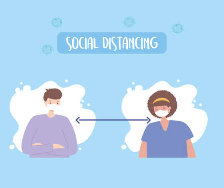 covid 19 coronavirus social distancing prevention, man and woman maintain a distance measures protection, outbreak spreading, people with medical face mask vector illustration