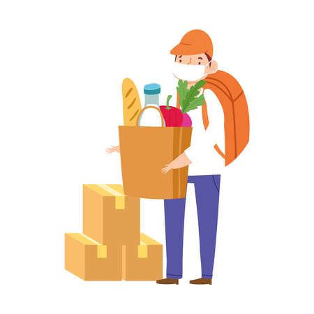 safe delivery at home during coronavirus covid 19 , worker with protective mask and cardboard boxes grocery bag vector illustration