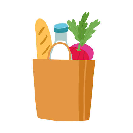 grocery bag and box with milk bottle and bread isolated icon design vector illustration Illustration