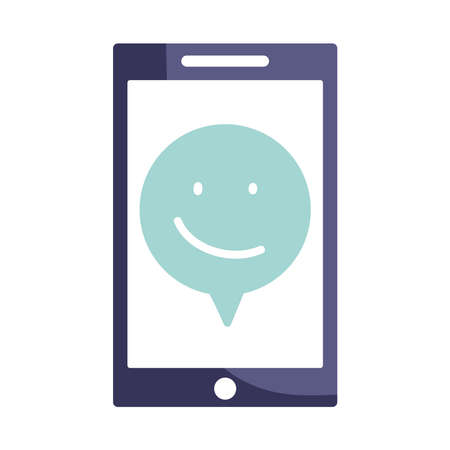 online grocery store, smartphone happy face quality service, icon design isolated white background vector illustration