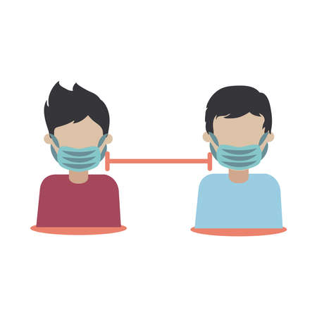 covid 19 coronavirus, social distancing people keep distance physical, prevention outbreak disease pandemic vector illustration flat design icon Illustration