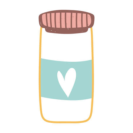glass jar with heart isolated icon design white background vector illustration
