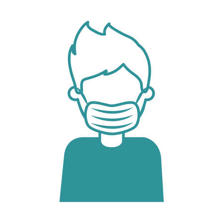 covid 19 coronavirus, man with medical mask, prevention outbreak disease pandemic vector illustration line design icon 向量圖像