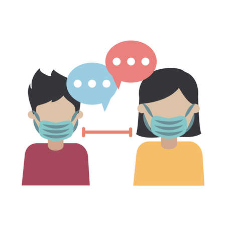 covid 19 coronavirus, man and woman with face mask prevention outbreak disease pandemic vector illustration flat design icon