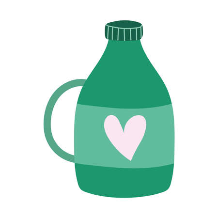 bottle with heart and cap isolated icon design white background vector illustration 일러스트
