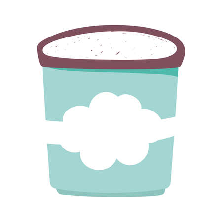 ice cream bucket food isolated icon design white background vector illustration