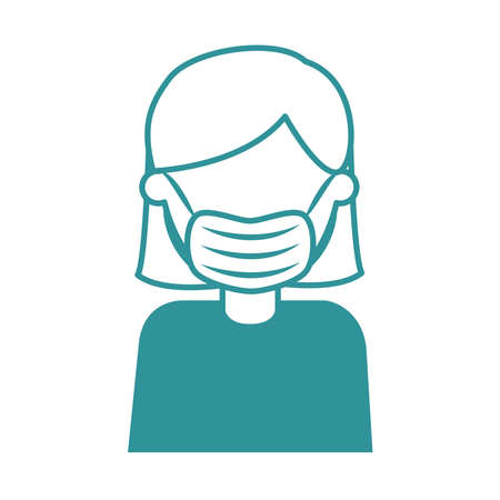 covid 19 coronavirus, woman with medical mask, prevention outbreak disease pandemic vector illustration line design icon