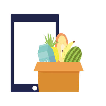 online market, smartphone pay and order technology, food grocery shop home delivery vector illustration
