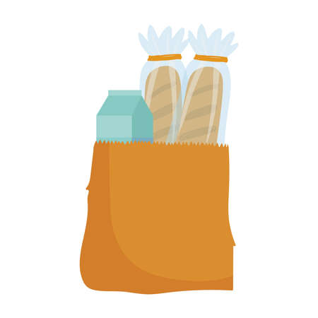 grocery food bread and juice box isolated icon design white background vector illustration