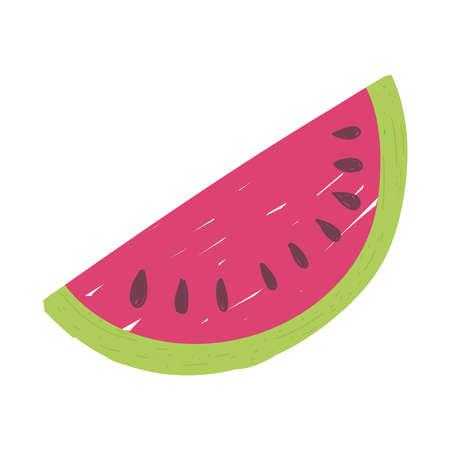 slice watermelon fruit juicy isolated icon design white background vector illustration
