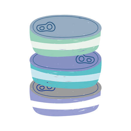 canned fish stacked isolated icon design white background vector illustration