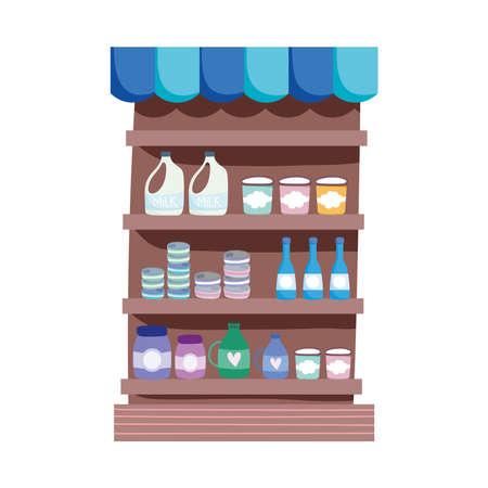 supermarket shelf with food isolated icon design white background vector illustration