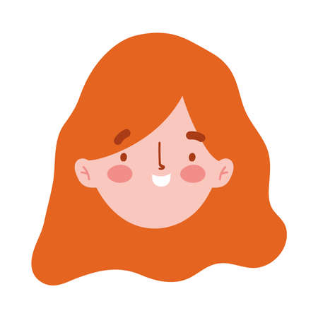 girl face character cartoon isolated icon design white background vector illustration Ilustração