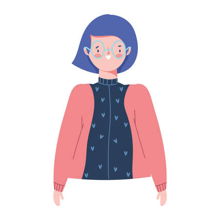 cartoon woman character female portrait isolated design icon vector illustration