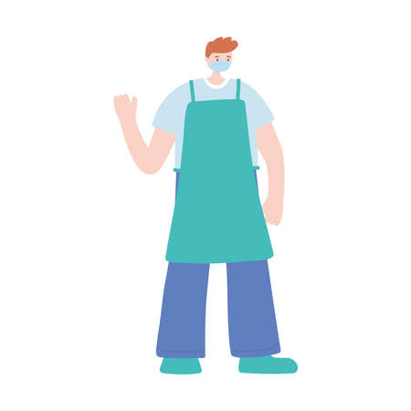 male chef with apron work essential during covid 19, character worker isolated design icon vector illustration Banco de Imagens - 150745200