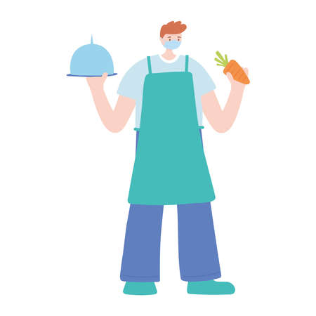 male chef with platter and carrot work essential during covid 19, character worker isolated design icon vector illustration