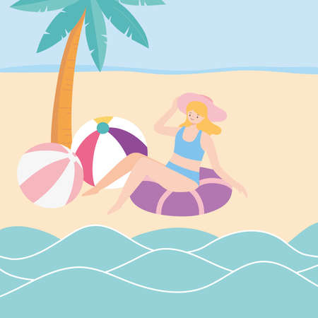 summer time girl with hat float and balls in beach vacation tourist vector illustration