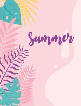 summer time vacation tourism monstera leaves foliage background vector illustration