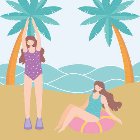 summer time beach vacation tourism girls with float and palm trees vector illustration