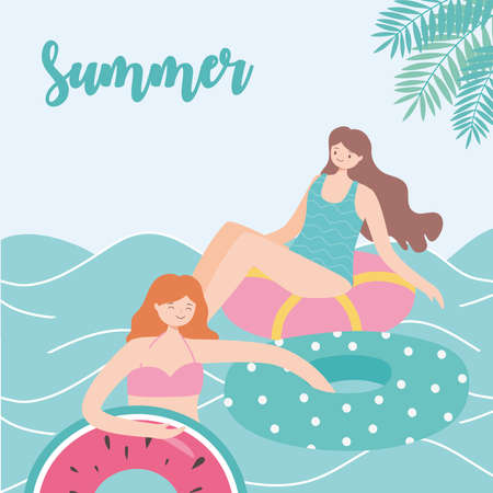 summer time beach vacation women resting on floating rubber rings on sea vector illustration