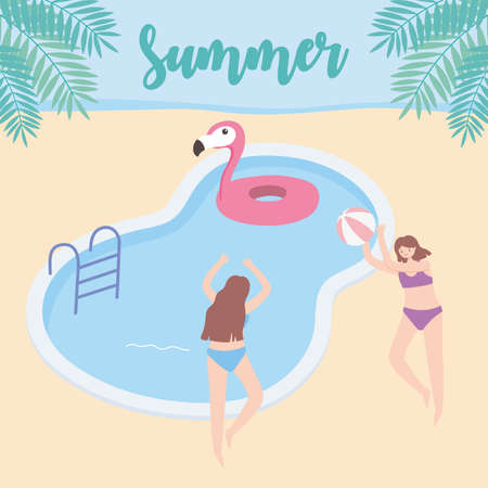 summer time girls with float and ball in pool vacation tourism vector illustration Çizim