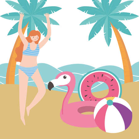 summer time woman with flamingo float ball palm trees sea beach vacation tourism vector illustration