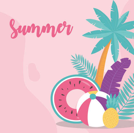 summer time vacation tourism watermelon float ball pineapple and palm tree vector illustration Çizim
