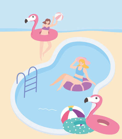 summer time women floating on inflatable in the pool with ball vector illustration