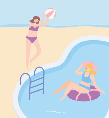 summer time girls with beach ball and float in pool vacation tourism vector illustration