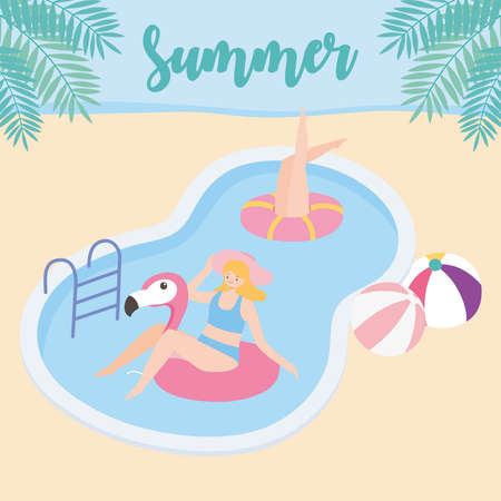 summer time women in pool with balls and flamingo float vacation tourism vector illustration