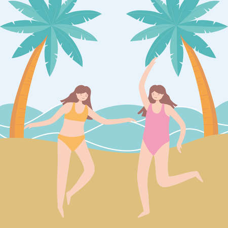 summer time vacation tourism happy girls in the beach vector illustration Çizim